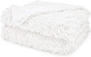 The Connecticut Home Company Shag Bed Throw Blanket, Twin Size, 80x60, Many Colors, Super Soft, Large Plush Luxury Reversible Blankets, Warm Hypoallergenic Washable Throws for Couch or Beds, White