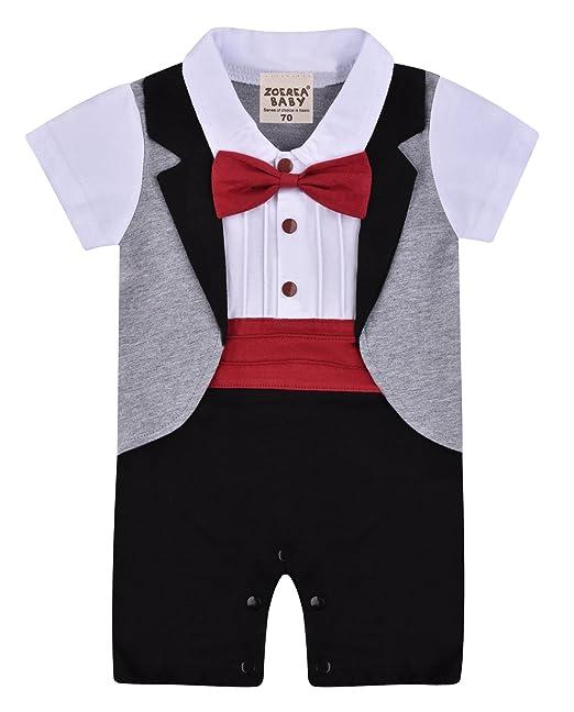 Amazon.com: ZOEREA 1pc Baby Boys Tuxedo Gentleman Onesie Romper ...