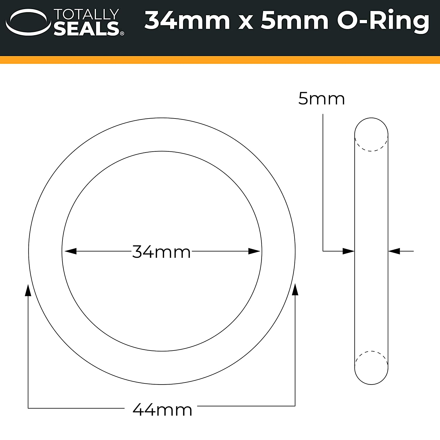 Nitrile Rubber O-Rings 70A Shore Hardness Pack of 10 44mm OD 34mm x 5mm