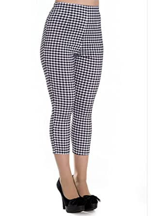 cef417938b4d Hell Bunny Women's Judy Gingham Plaid High Waist 1950's Inspired Cropped  Capri Pants (X-