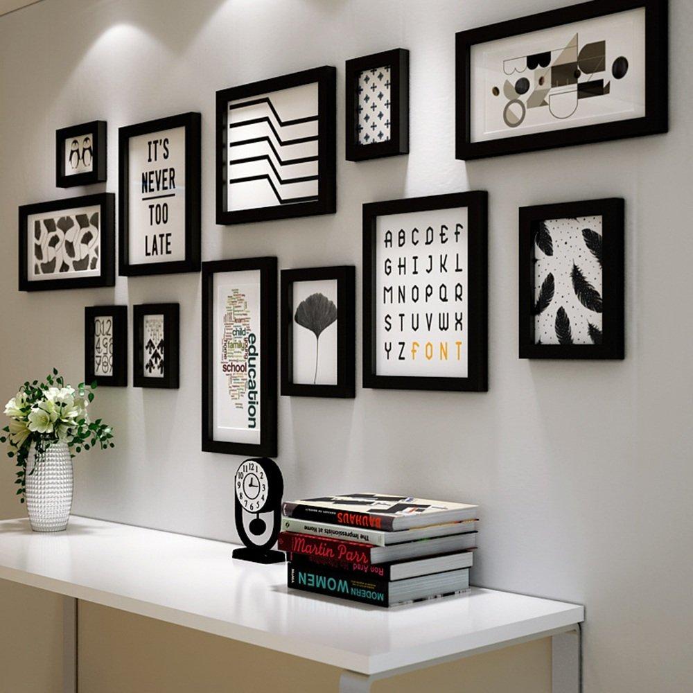 ALUP- 12マルチピクチャーフレームセット木製黒と白DIYの写真の壁フレーム現代的なスタイルの大きな壁ハンギングフォトフレームの壁の装飾絵画、155 x 64 cm (色 : ブラック) B07DB4S23L 10314  ブラック