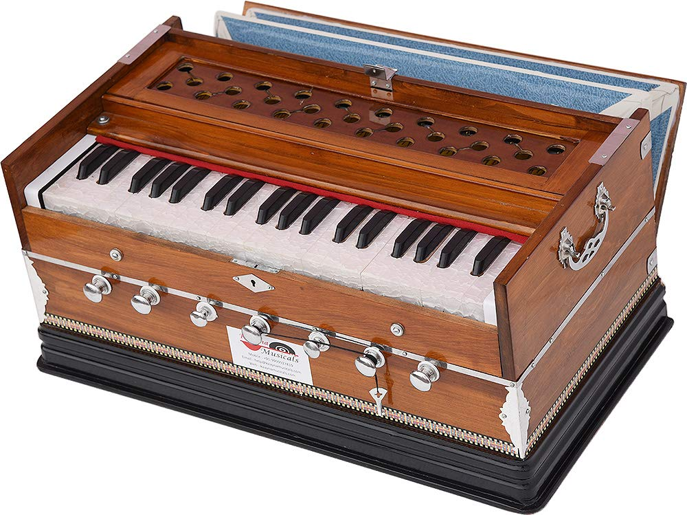 Harmonium Eco Model By Kaayna Musicals, Brown Colour, 7 Stops- 2 Drone, 3¼ Octaves, Gig Bag, Bass/Male Reed Tuned- 440 Hz, Best for Peace, Yoga, Bhajan, Kirtan, Shruti, Mantra, etc by Kaayna Musicals (Image #7)