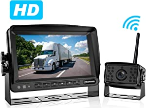 Wireless Backup Camera for Truck RV Motorhome Trailer Camper Tractor Van 5th Wheels with 7'' Monitor HD Digital Reversing System Mirror Support Split/Quad Screen IP69 Waterproof Guide Lines ON/Off