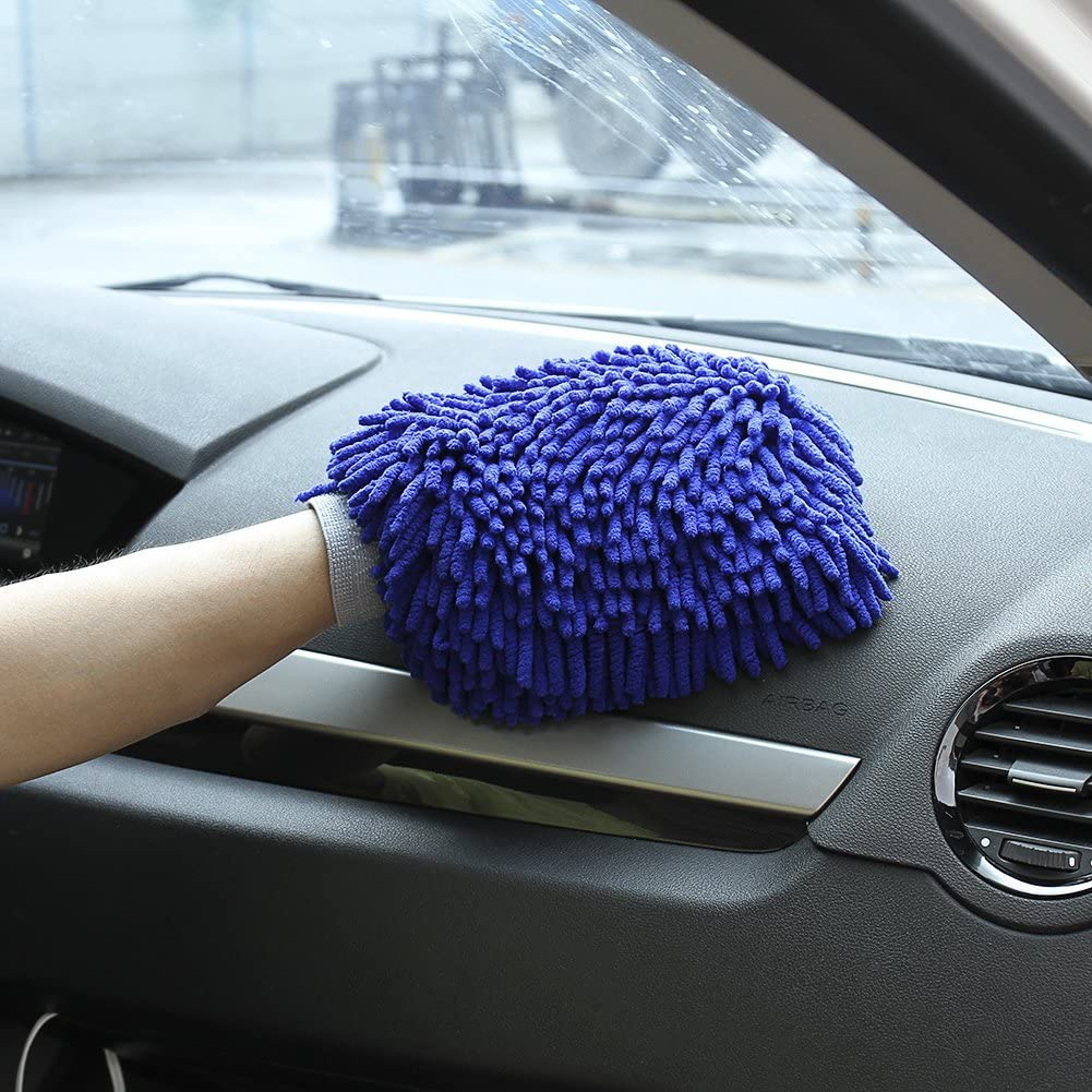 2 Pack Wash Mitt Large Size Chenille Microfiber Car Wash Gloves Blue and Green Double Sided WALTSOM Car Wash Mitt Use Wet or Dry Lint Free Scratch Free