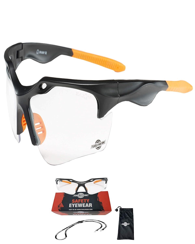 Gafas de Seguridad ToolFreak Finisher para el trabajo y el deporte, Lentes Claras, 99,9% protección ultravioleta e impacto, Incluye Cordón de Cuello y Bolsa de Microfibra