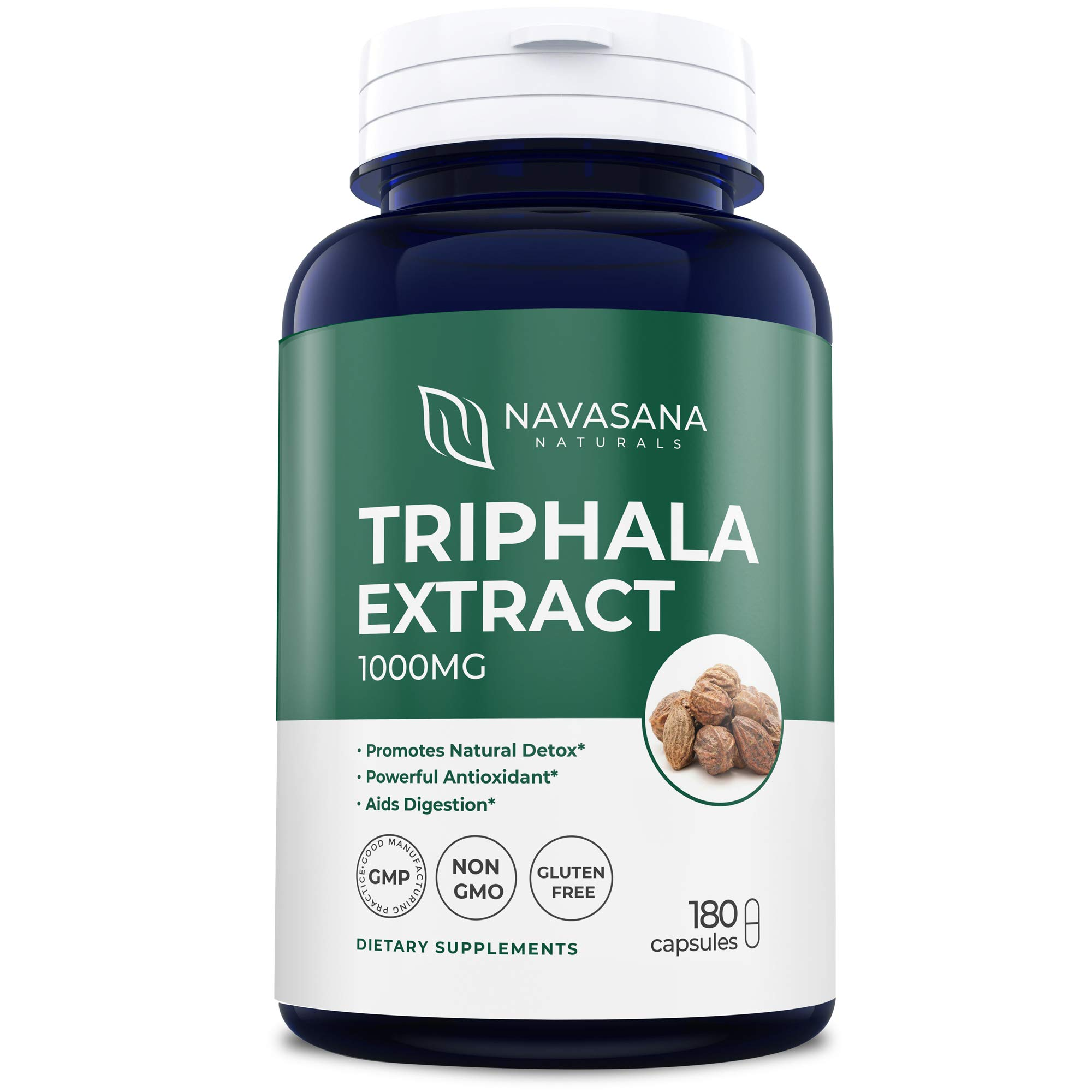 Triphala Extract Supplements 1000 mg for Body Detoxification and Rejuventaion - Natural and High-Strength Triphala Tablets - 180 Triphala Capsules by Navasana Naturals