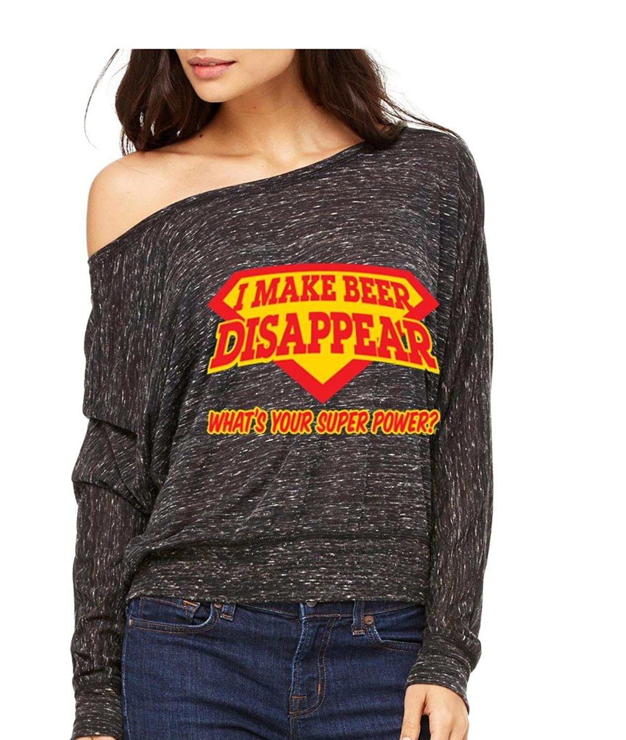I Make Beer Disappear Your Super Power@ Long-Sleeve Superman Beerman Flowy Shirt