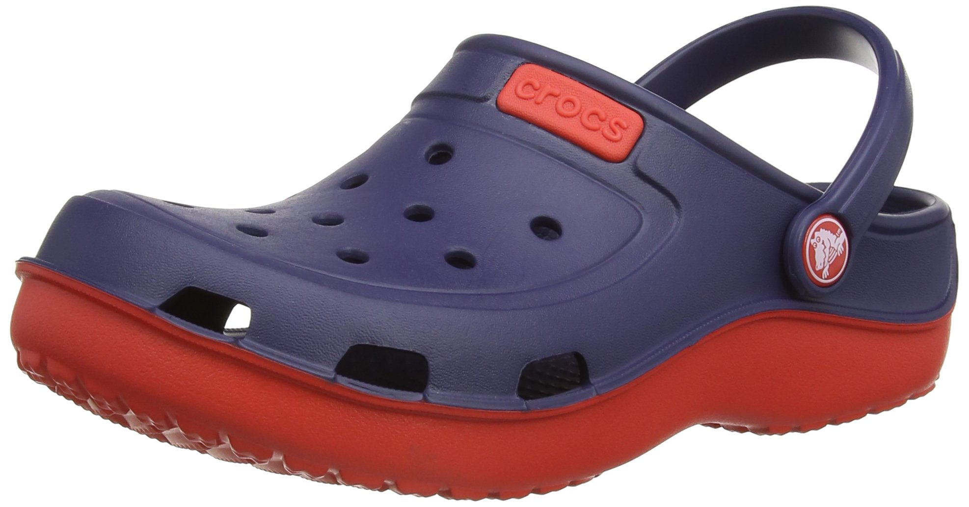 Crocs Duet Wave K Clog (Toddler/Little Kid),Nautical Navy/Flame,1 M US Little Kid