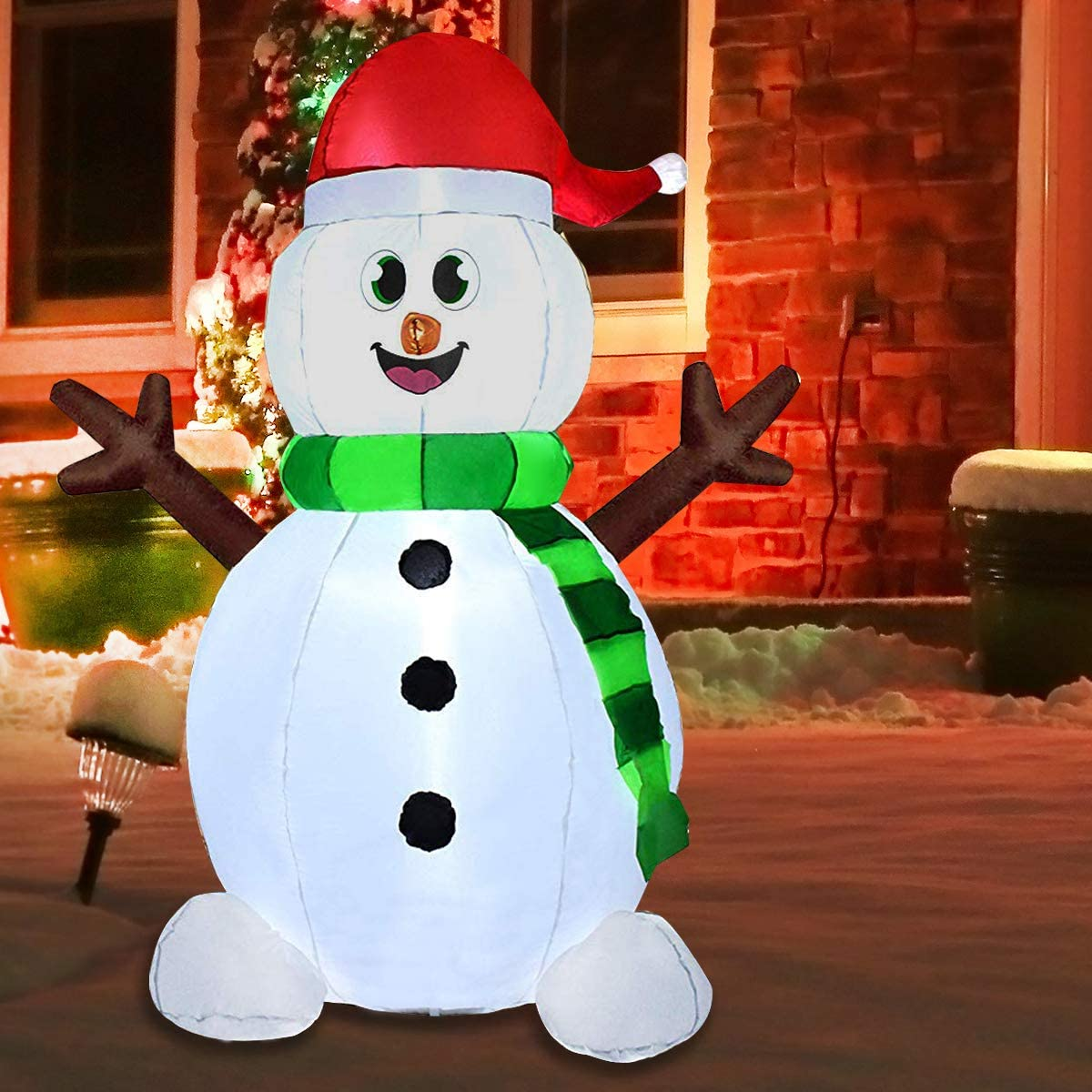 Joiedomi 5 Foot Snowman Inflatable LED Light Up Christmas Xmas for Blow Up Yard Decoration, Indoor Outdoor Garden Christmas Decoration