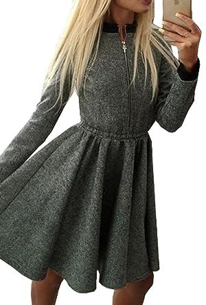 Damen Minikleid Herbst Winter Stehkragen Langarm Sommerkleid ...