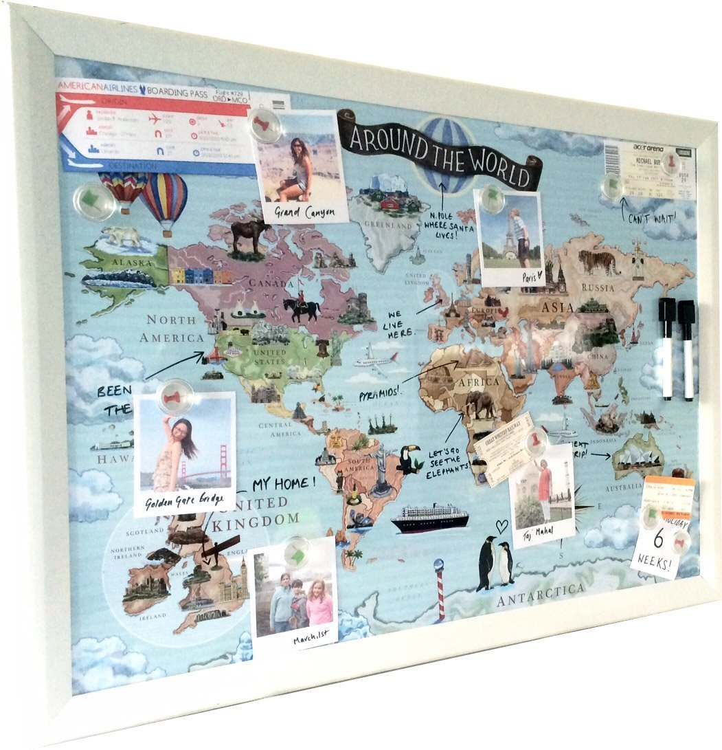 Amazon world map magnetic whiteboard maps to draw pin and amazon world map magnetic whiteboard maps to draw pin and plan your travels around the world office products gumiabroncs Images