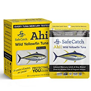 Safe Catch Ahi, Wild Yellowfin Tuna, Lowest Mercury Wild Tuna, Keto, Paleo, 8 Count, 3oz Pouch