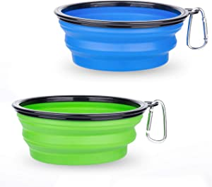 Collapsible Dog Bowl, McoMce 2 Pack Portable Dog Bowl for Pet, Blue and Green Dog Bowl for Travel, Dog Bowls for Cats and Dogs, Folding Travel Dog Bowl Food Dishes with Carabiner Clip
