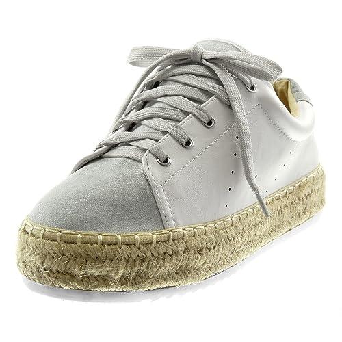 931385b604 Angkorly - Scarpe Moda Sneaker Espadrillas Sporty Chic Tennis Zeppe ...