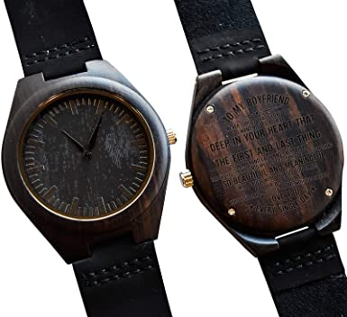 To My Boyfriend Gift Engraved Wooden Wrist Watch For Men Wood Personalized Wedding Anniversary Birthday Gifts