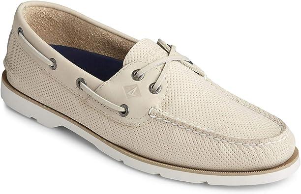 Leeward Cross Lace Boat Shoe Ivory
