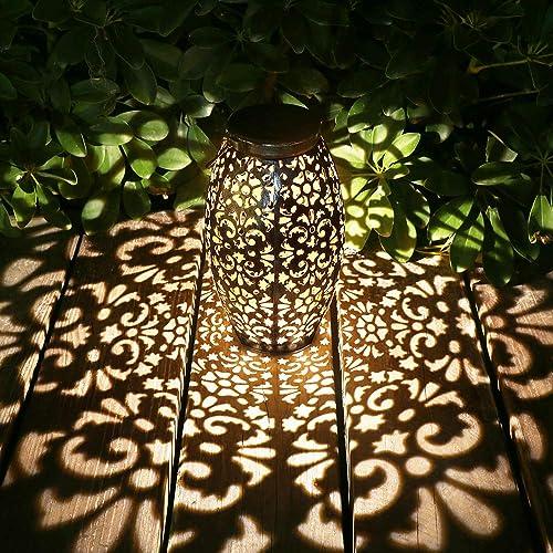 Kaixoxin Solar Lantern Lights for Hanging or Table Outdoor Solar Light for Patio Courtyard Garden Silver