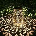Kaixoxin Solar Lantern Lights for Hanging or Table Outdoor Solar Light for Patio Courtyard Garden (Silver)… (Silve)