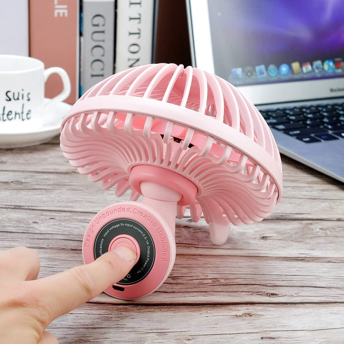 Color : Pink Air Cooler Mini Fan USB Mushroom Shape Fan Adjustable Angle Student Office Home Desktop Small Electric Fan