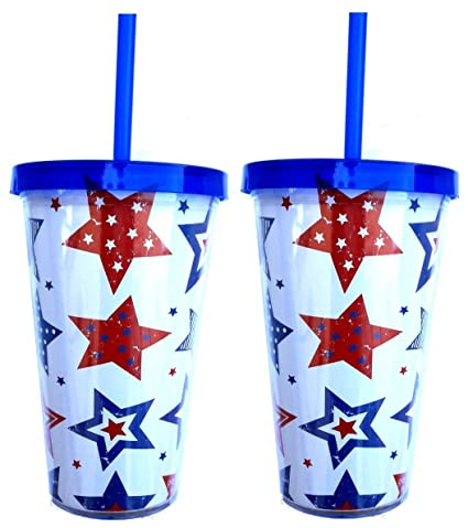 889a9ce19b9 Amazon.com   Patriotic 4th of July Double Wall Plastic Tumbler: Coffee Cups  & Mugs