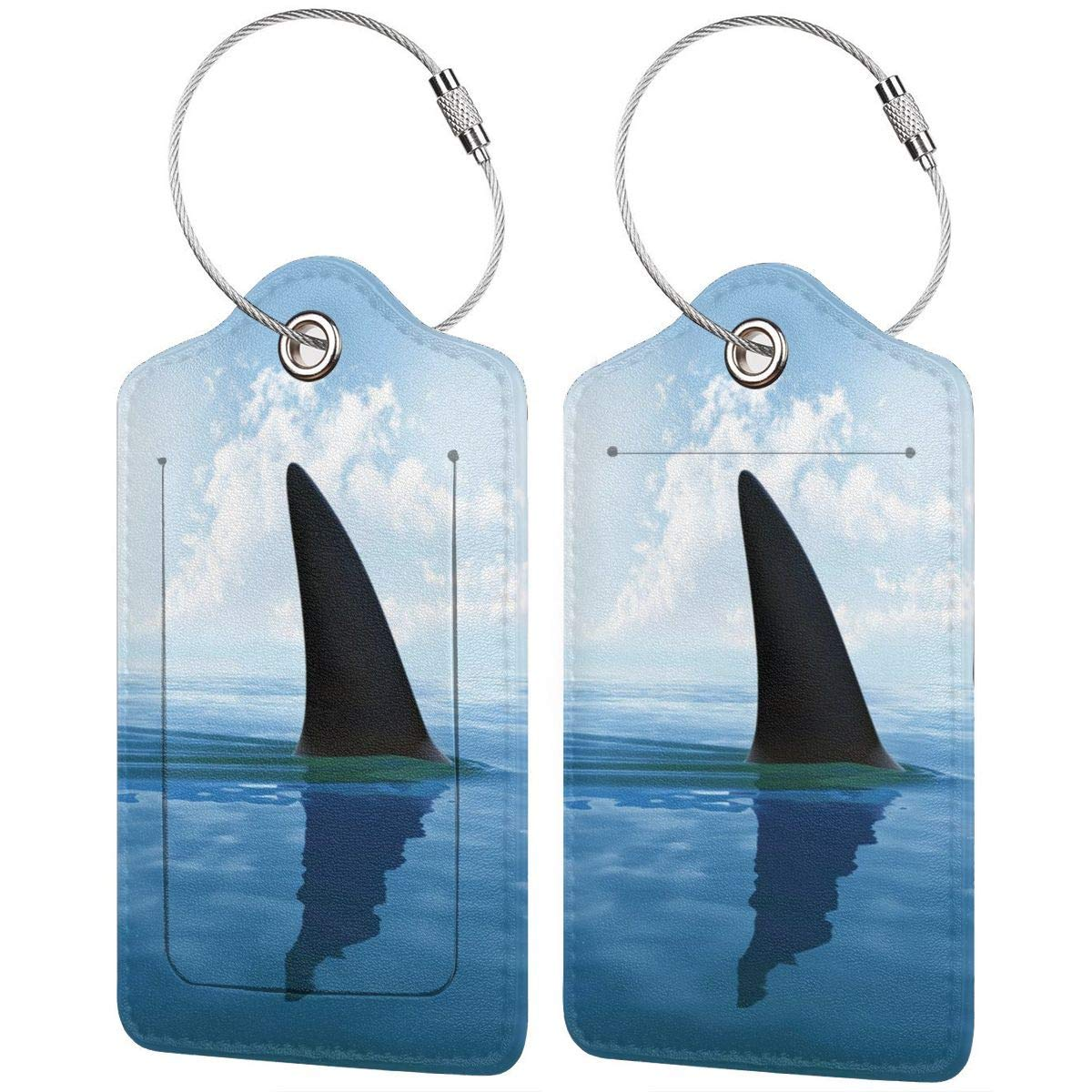 Leather Luggage Tag Shark Fish Fin Over The Sea Surface Luggage Tags For Suitcase Travel Lover Gifts For Men Women 2 PCS