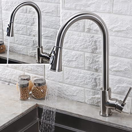 BHQ 1006 Kithcen Sink Faucet, Modern Stainless Steel Single Handle Single  Hole Pull Out Spray