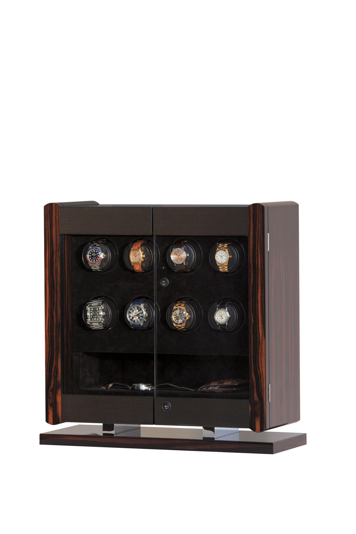 Avanti 8 - Pedestal Model (8-Watch Winder, Macassar/Carbon Fiber) by Orbita