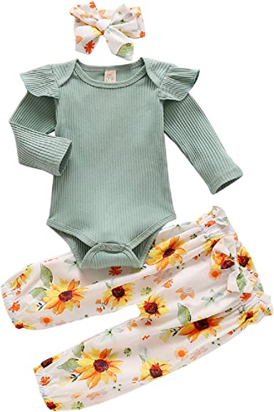 US Newborn Baby Girl Winter Outfit Clothes Romper Tops+Floral Pants+Headband Set