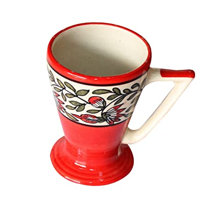 09298f07bd0 Exclusive Handmade and hand decorated Crafted Khurja Pottery Red Ceramic  Serving Mug Use For Tea Serving