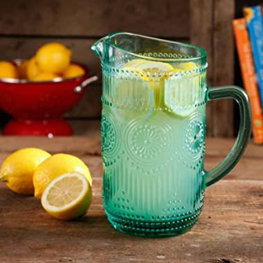 The Pioneer Woman Adeline 1.59-Liter Glass Pitcher Turquoise