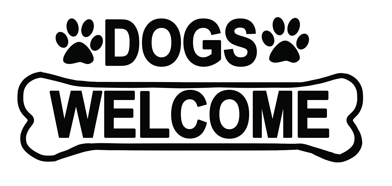 Sign Sticker Label Removable Self Adhesive Waterproof Durable Vinyl Label Sticker 225mm x 106mm Dogs Welcome 2 x