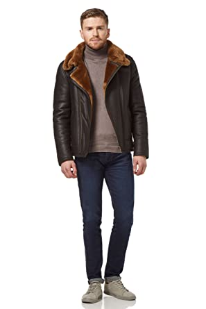 Mens RAF B3 Real Sheepskin Shearling Jacket Pilot Flying Leather Ginger Fur NV49 at Amazon Mens Clothing store: