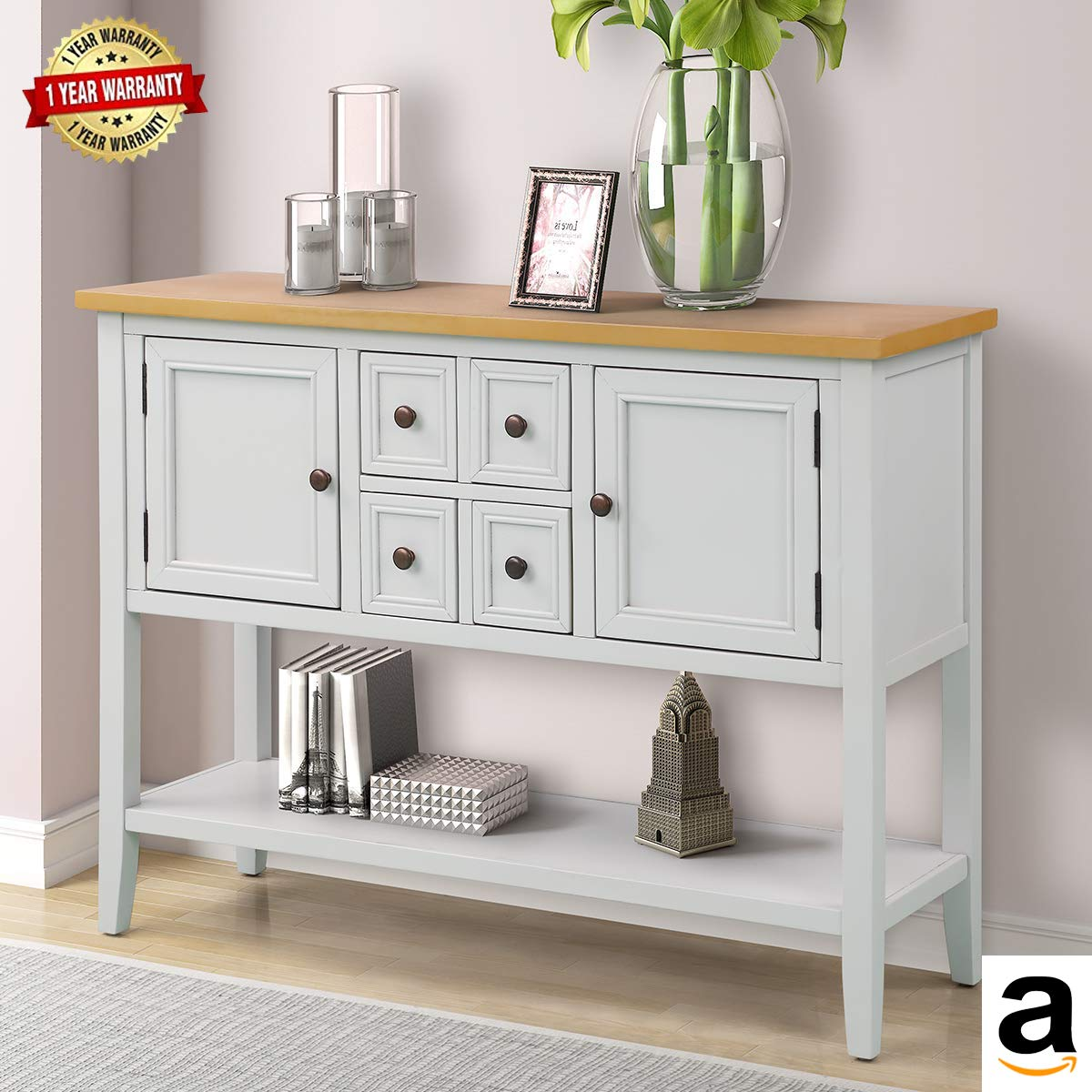 MIERES 1 Harper&Bright Designs Cambridge Series Buffet Sideboard Console Table with Bottom Shelf (Ivory White),