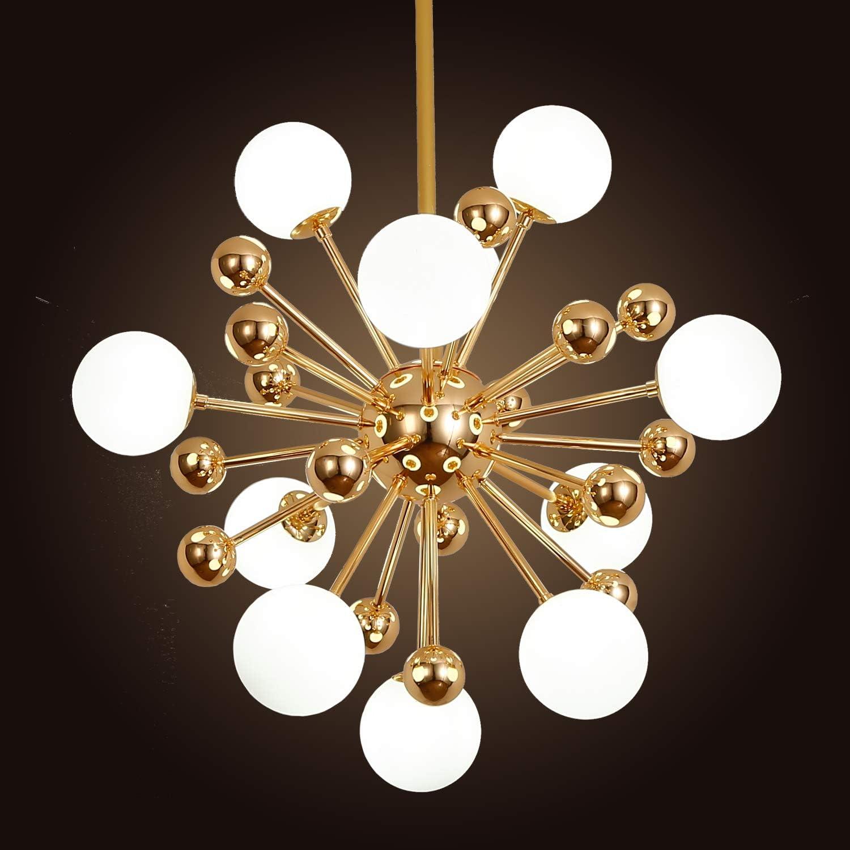 Ganeed Modern Chandelier, Mid-Century 11 Lights Gold Sputnik Pendant Lighting,Industrial Brushed Nickel Ceiling Light Fixture for Kitchen Dining Room Living Room