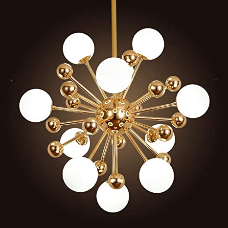 Ganeed Modern Chandelier Mid Century 11 Lights Gold Sputnik Pendant Lighting Industrial Brushed Nickel Ceiling Light Fixture For Kitchen Dining Room