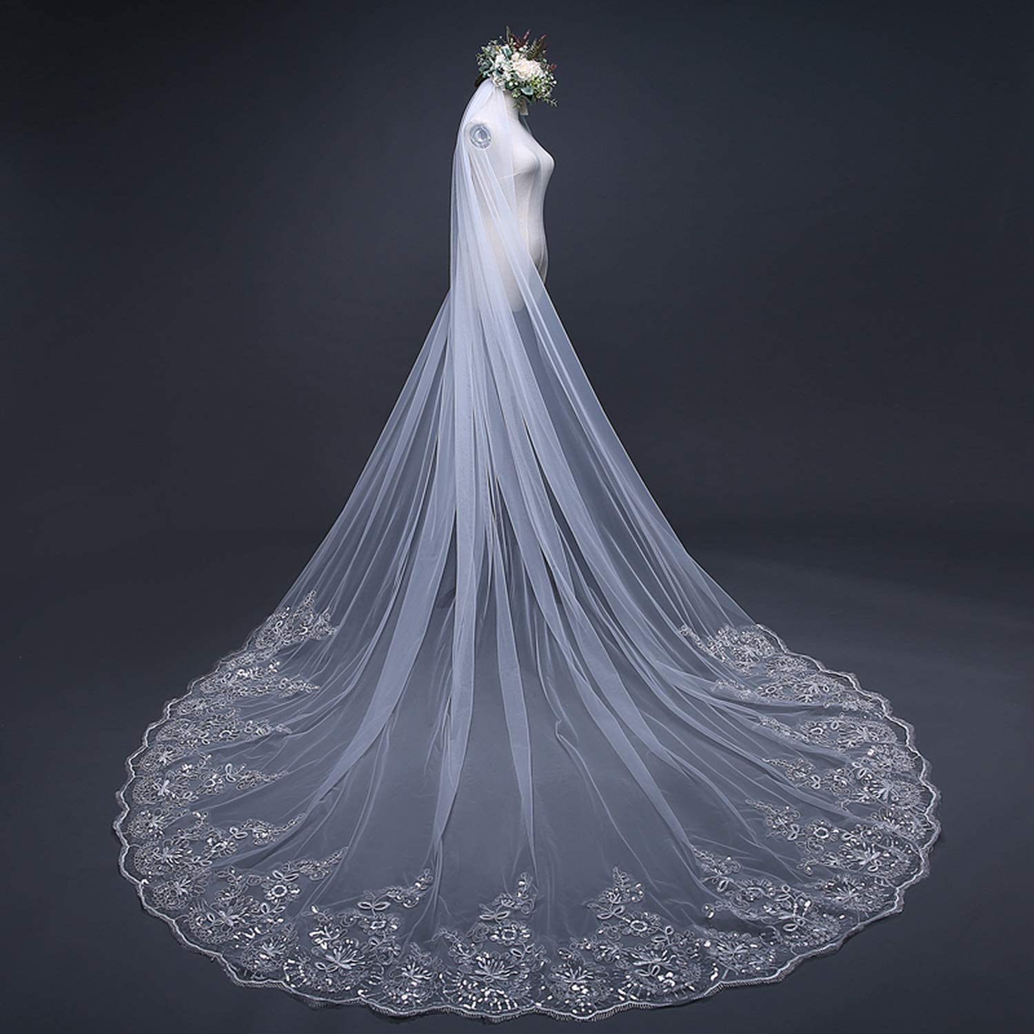 White Ivory Cathedral Wedding Veils Long Lace Edge Bridal Veil with Comb Wedding Accessories Bride Veil