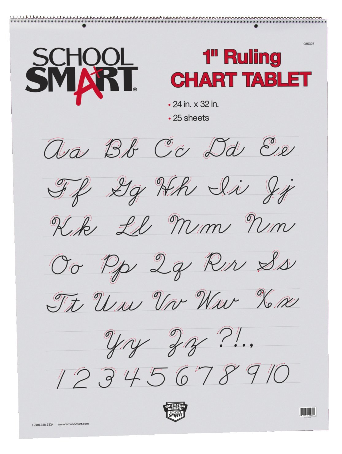 School Smart 85327 24 x 32 - 1 inch Line Chart Tablet - 25 Sheets - White