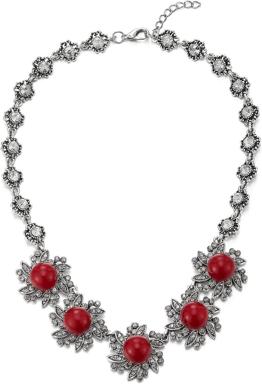 COOLSTEELANDBEYOND Grande Babero Gargantilla Choker Statement Collar, Rhinestones Cristal Rojo Piedras Perla Cluster Vintage Flor Colgante