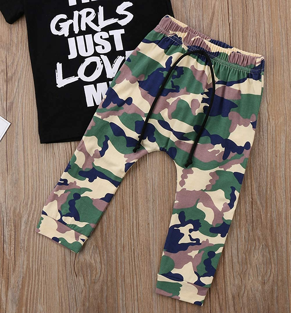 1-6T Little Boys Clothes Two Piece Black Short Sleeve Fun T-Shirt /& Elastic Waist Camouflage Pant Sets Toddler Boy Outfits