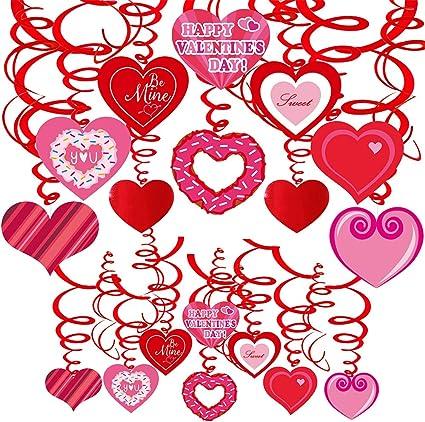 Día de San Valentín Corazones De Remolino Colgante Decoraciones x 4
