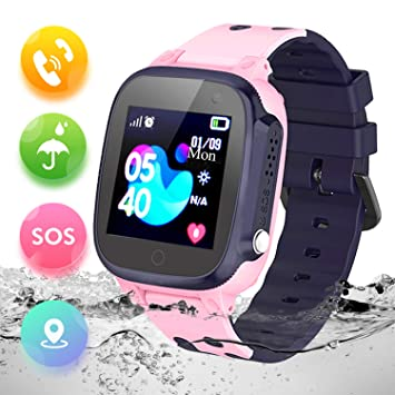Montre Enfant GPS Tracker Étanche Telephone Montre Connectée Enfant Fille Garçon LBS SOS Smart Watches(