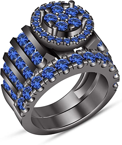 TVS-JEWELS Five Stone Round Cut Blue Sapphire with Black Rhodium Plated 925 Silver Mens Band Ring