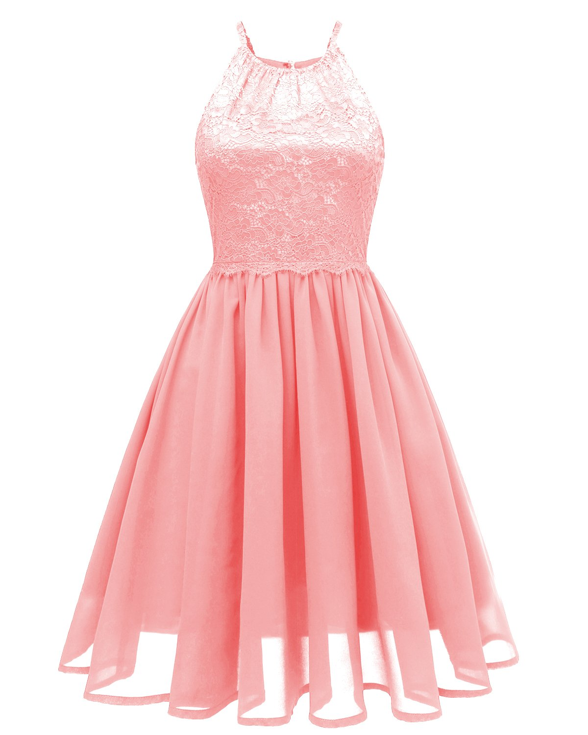 Sunvary Prom Cocktail Dresses Short Lace Chiffon Bridesmaid Open Back Dress for 2018 Graduation Daily Summer Wear-S-Pink