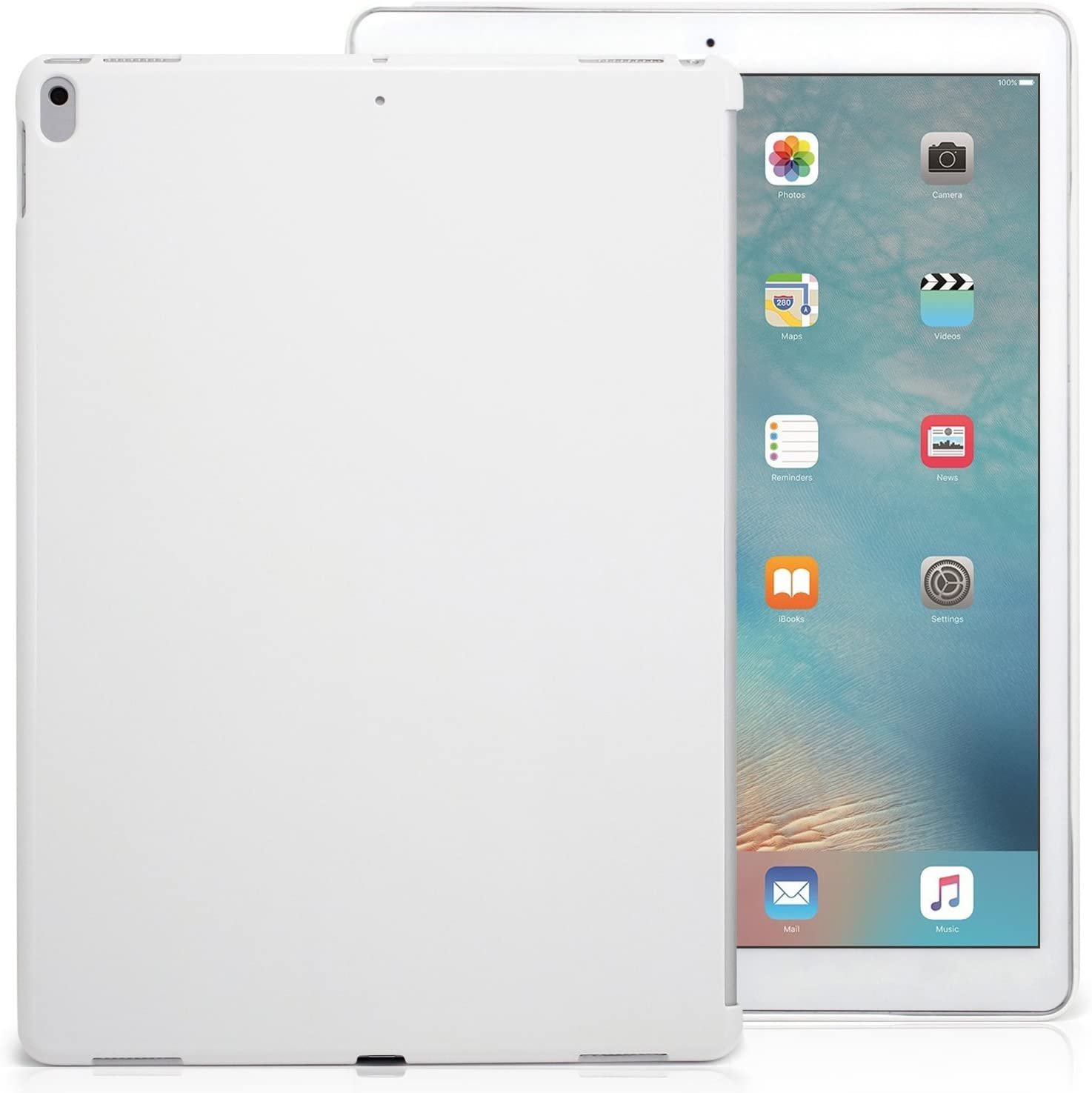 KHOMO - iPad Pro 12.9 Inch White Color Case - 2017 Version - Companion Cover - Perfect Match for Apple Smart Keyboard and Cover.