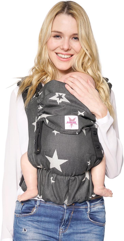 Kokadi® Flip Diorite Stars - Mochila portabebés desde el nacimiento, ergonómica, creciente en la parte delantera y trasera, verano e invierno, certificada, tela portabebés, bolsa de regalo