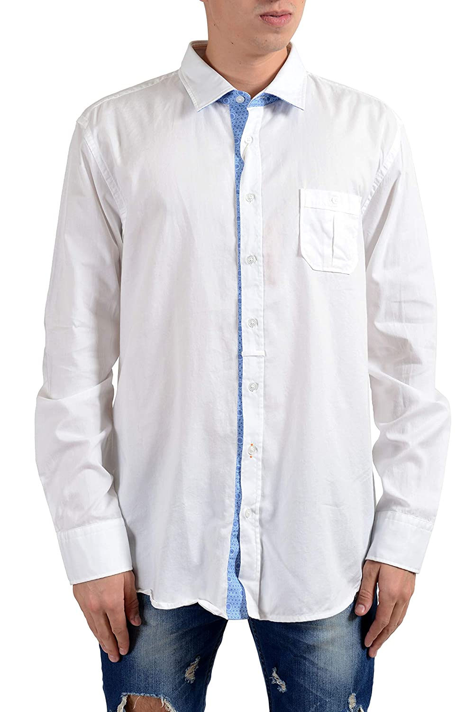 0e8cd97e Amazon.com: Hugo Boss Orange EslimE Men's White Slim Long Sleeve Casual  Shirt US 2XL IT 56: Clothing