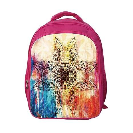 8761838b03de iPrint School Bags Kid's Backpacks Custom,Mandala,Ornate Original Mandala  Sketch Over Colorful Dirty