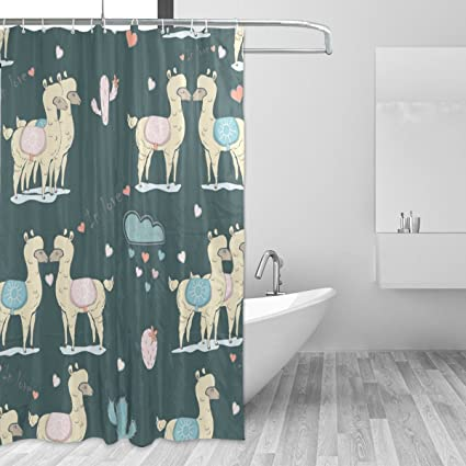 Amazon Alpaca In Love Cute Shower Curtain For Bathroom 72x72