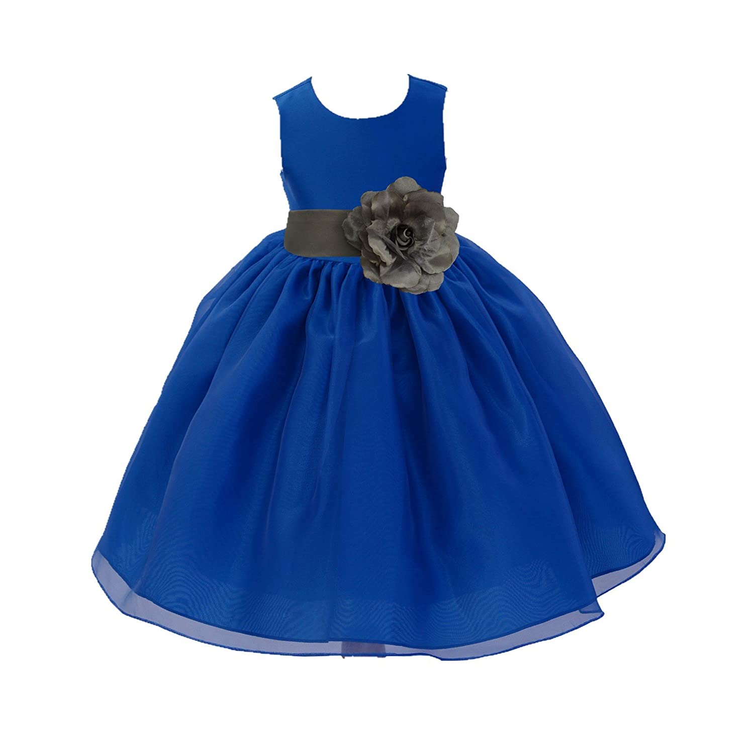 ekidsbridal Royal Blue Satin Bodice Organza Skirt Flower Girl Dresses Ballroom Gown 841S