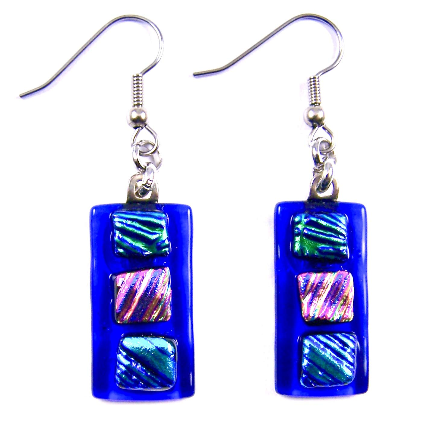 Details about  /Handmade Blue Fused Dichroic Art Glass Jewelry Dangle Earrings Crinkle Pattern s